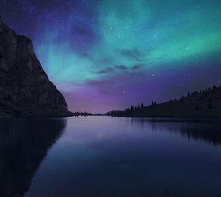 Обои на телефон озеро, природа, пейзаж, ночь, аврора, nightfall