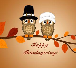 Обои на телефон happy, hats, счастливые, осень, листья, благодарение, сова