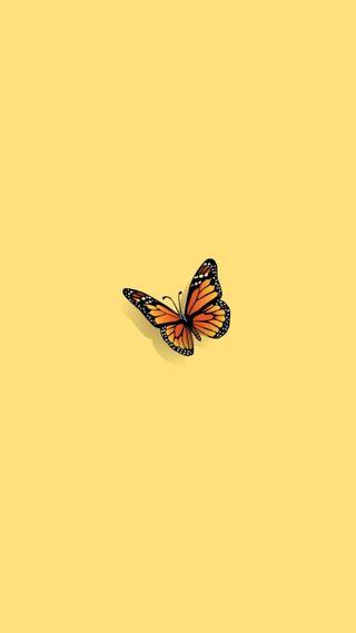 Обои на телефон эстетические, желтые, бабочки, aes