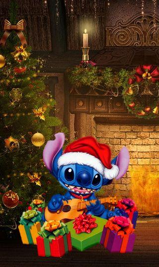 Обои на телефон стич, счастливое, рождество, подарок, дисней, disney