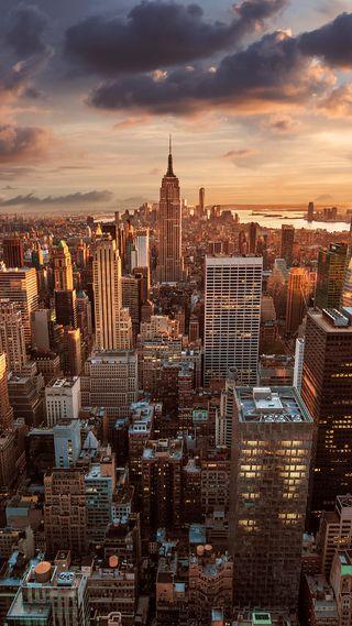 Обои на телефон фулл хд, прекрасные, небоскребы, манхэттен, империя, закат, empire state