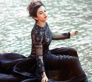 Обои на телефон индийские, черные, платье, модели, милые, красота, девушки, rakul, black dress