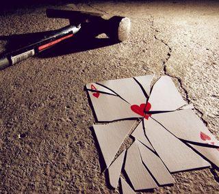 Обои на телефон туз, сломанный, сердце, молот