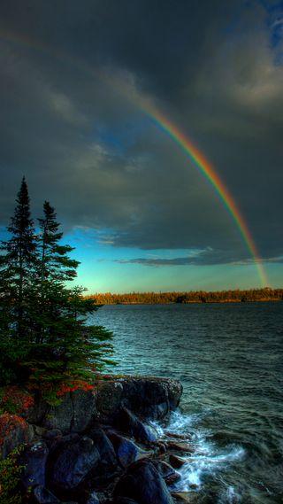 Обои на телефон река, синие, радуга, облака, небо