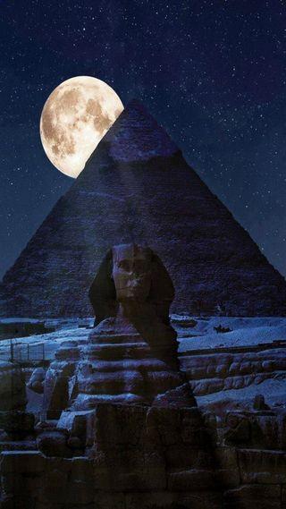 Обои на телефон пирамиды, египет, ночь, луна, sphinx, giza