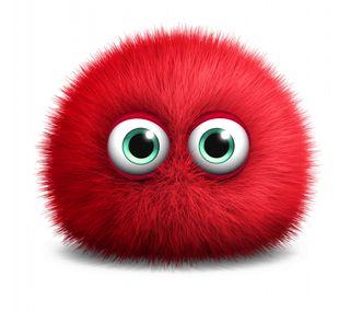 Обои на телефон 3 d monster background, cute fluffy red, red monster, красые, милые, фон, пушистые