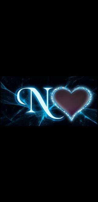 Обои на телефон буквы, черные, синие, сердце, молния, n letter