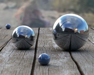 Обои на телефон круги, шары, серебряные, пейзаж, дерево, depth, 3д, 3d