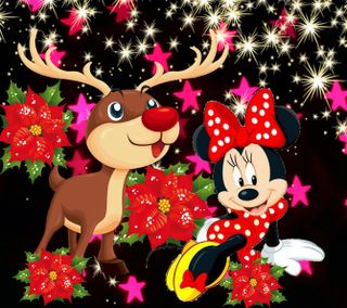 Обои на телефон счастливое, рождество, мультики, минни, маус, дисней, 1440x1280px, disney