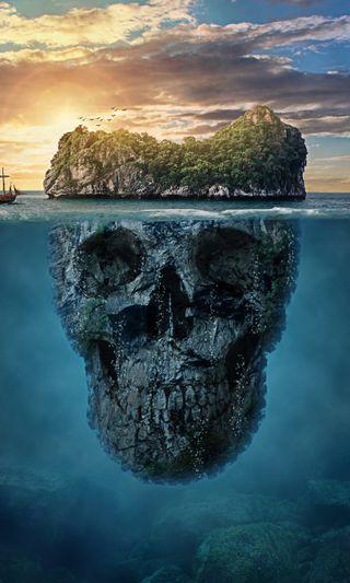 Обои на телефон череп, смертоносный, космос, синие, остров, deadly island