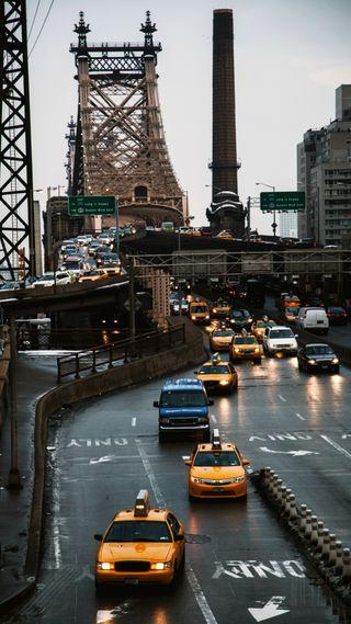 Обои на телефон трафик, пейзаж, машины, дождь, город