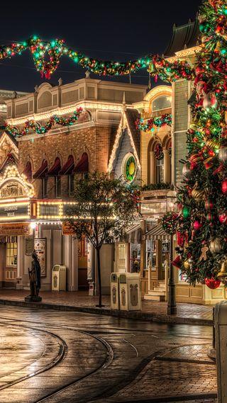 Обои на телефон праздник, дерево, рождество, город, christmas town