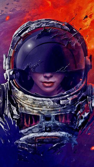 Обои на телефон космонавт, девушки, графика