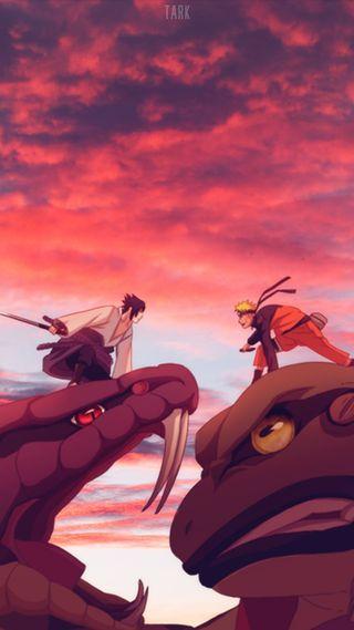 Обои на телефон узумаки, учиха, саске, пейзаж, небо, наруто, коноха, закат, бой, аниме, naruto x sasuke