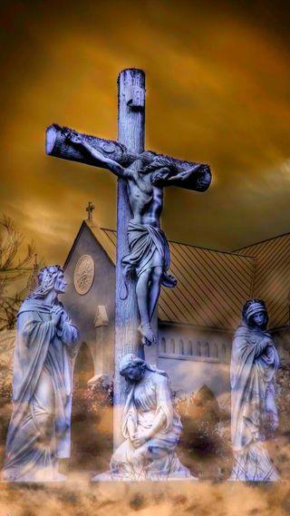 Обои на телефон христос, оранжевые, небо, крест, исус, бог, statues, son of god, orange sky, crucified