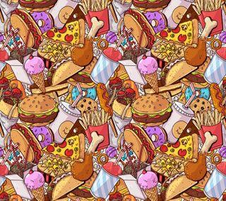 Обои на телефон иллюстрации, шаблон, еда, дизайн, junk food pattern