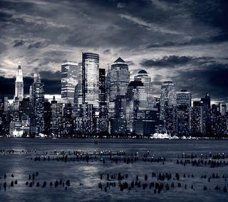 Обои на телефон облачно, ночь, небо, море, город, вода, night city, cloudy sky