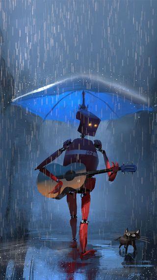 Обои на телефон я, котята, дождь