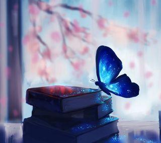 Обои на телефон книги, бабочки, синие, books and butterfly