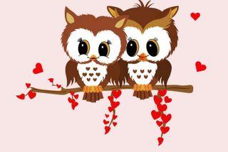 Обои на телефон сова, птицы, сердце, рисунки, пара, любовь, день, валентинки, valentines owls, love, 480x320px