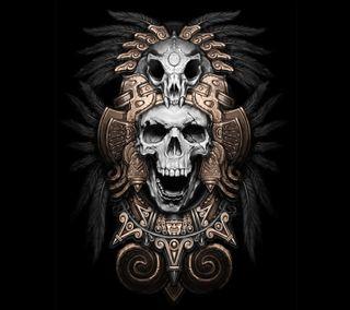 Обои на телефон aztec, azteca, череп, дизайн