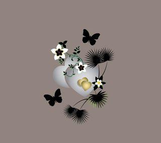 Обои на телефон серебряные, сердце, дизайн, два, two silver hearts