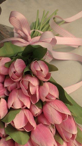 Обои на телефон тюльпаны, цветы, розовые, букет, ribon