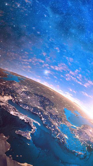 Обои на телефон космос, синие, небо, земля, галактика, galaxy