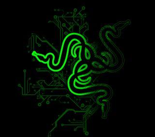 Обои на телефон компьютер, черные, логотипы, зеленые, razer