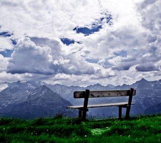 Обои на телефон холм, скамейка, природа, поле, пейзаж, облака, место, горы, вид, place for a short