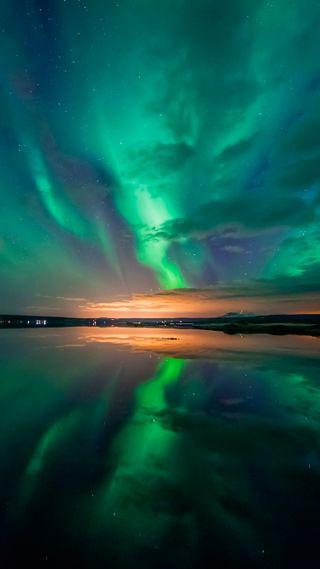 Обои на телефон озеро, природа, зеленые, аврора, aurora over lake