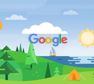 Обои на телефон пейзаж, океан, новый, логотипы, гугл, seaside, new google logo, google now, google