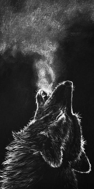 Обои на телефон черные, волк, вой, breathe