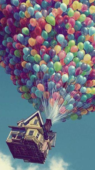 Обои на телефон шары, фильм, небо, дом, аниме, up
