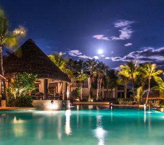 Обои на телефон тропические, роскошные, рай, пальмы, ночь, луна, poolside moonlight, pool, luxury