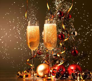 Обои на телефон шампанское, год, стекло, новый, мяч, блестящие, tape