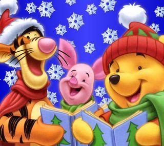 Обои на телефон пух, счастливое, рождество, мультфильмы, винни, winnie pooh, piglet