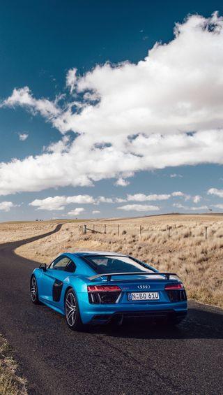 Обои на телефон синие, машины, лето, ауди, audi r8 v10, audi