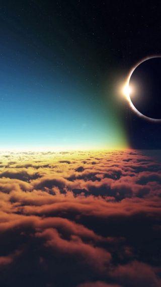 Обои на телефон солнечный, солнце, ретро, рассвет, пейзаж, облака, ночь, небо, луна, космос, затмение, solar eclipse