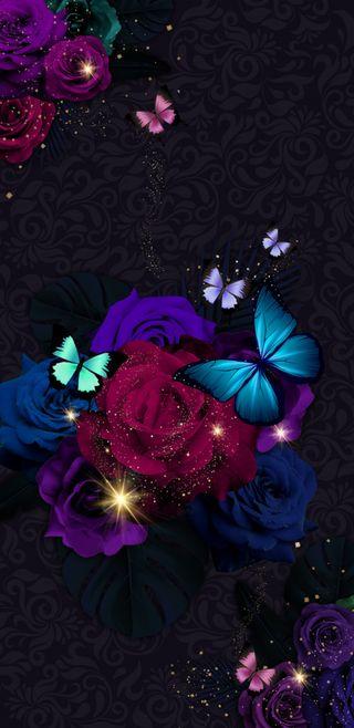 Обои на телефон девчачие, симпатичные, сверкающие, розы, прекрасные, красочные, блестящие, бабочки, butterfliesnroses1