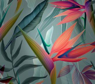 Обои на телефон хуавей, цветы, стена, стандартные, оранжевые, матовые, листья, красота, зеленые, mate 10, huawei mate 10