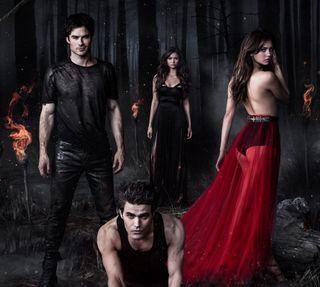 Обои на телефон вампиры, the vampire diaries, the vamp diaries, sezon 5, katherine, elena, damon