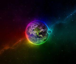 Обои на телефон эффект, цветные, стены, луна, земля, earth n moon