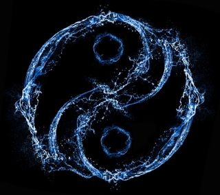 Обои на телефон янь, брызги, символ, логотипы, капли, инь, вода, аква, aqua yin yang