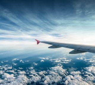 Обои на телефон самолет, синие, облака, небо, крыло, день, hd