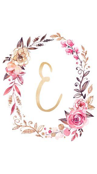 Обои на телефон девчачие, цветочные, розовые, золотые, буквы, monogram e, monogram