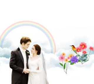 Обои на телефон эдвард, сумерки, радуга, птицы, пары, любящий, любовь, loving couples, love, hd, bella