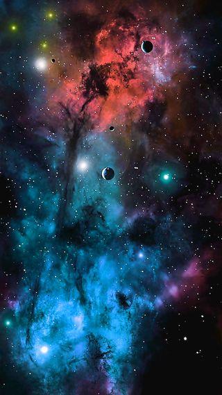 Обои на телефон туманность, ночь, небо, космос, звезды, звезда