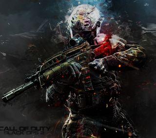 Обои на телефон солдат, черные, игра, война, ops, carabine, call of duty, black ops 2