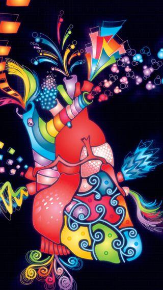 Обои на телефон электрические, цветные, сердце, рисунок, дизайн